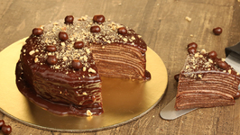 Chocolate Crepe Cake Recipe - Homemade Chocolate Cake Without Oven - Eggless Cake Recipe - Bhumika