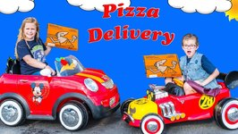 Ride On Dueling Pizza Drivers Pretend Play With Assistant And Crystal
