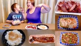 Asian Food Unagi, BBQ Pork And Garlic Rice Gay Family Mukbang -Eating Show
