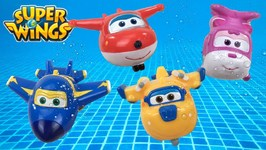 Super Wings Jett Dizzie Donnie And Jerome Bath Pool Squirter Toys