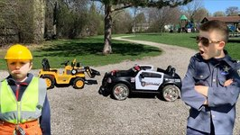 Little Builders And The Broken Police Car Pretend Play Kids Video