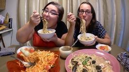 Thai Papaya Salad And Seafood Spaghetti / Gay Family Mukbang - Eating Show