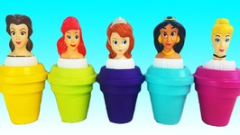 Learn Colors Disney Princess Ariel Cinderella Surprise Toys Play Doh