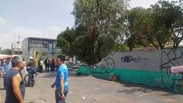 Exterior Wall of Mexico City School Destroyed in Earthquake