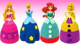 DIY How To Make Kinetic Sand Disney Princess Dresses Ariel Frozen Elsa Learn Colors Rainbow