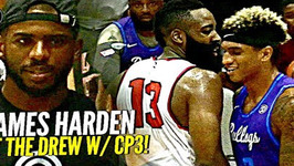 James Harden Foolin In Drew League Debut W/ Chris Paul Watching Game Gets Heated At The End