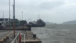 Cargo Ship Seeks Shelter From Typhoon Hato in Hong Kong's Discovery Bay
