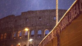 Snow Falls on Colosseum as Cold Front Crosses Rome