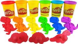 DIY Play Doh Dinosaur VS Kinetic Sand VS Kinetic Foam Rainbow Learning Colors