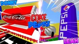 Minecraft Challenge - COKE HOUSE VS PEPSI HOUSE!! Donny & Leah Games.