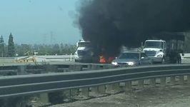 Semi-Trailer Truck Fire Blocks Interstate Highway in Fremont, California
