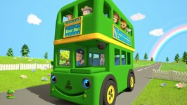 Wheels On the Bus - Nursery Rhymes Songs for Children - Green Bus