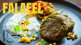 Curried Falafel With Pickled Corn, Peppers And Tzatziki