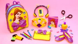 10 DIY Miniature Belle School Supplies - Bookbag Cellphone Headphones Pencils Scissors etc