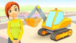 Car School: An Excavator - A Car Cartoon for Babies - Construction Vehicles for Kids