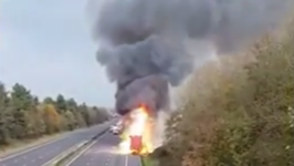 Dramatic Lorry Fire Causes Delays on M1