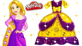 Making with Play Doh Rapunzel Disney Princess Sparkle Dress Glitter Crown And Fidget Spinner