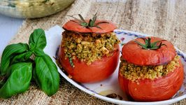 Pesto Quinoa Stuffed Tomatoes