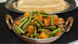 Quick Pressure Cooked Aloo Fansi Sabji / Potato Green Beans