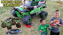 CAR CRUSHER - GRAVE DIGGER vs RC CAR - MONSTER TRUCK CRUSHES CAR