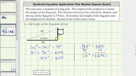 Quadratic App - Find The Length Of A Shadow Using Pythagorean Thm - Square Roots