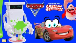 Captain Underpants SLIME TURBO TOILET 2000 vs Cars 3 Toys Game - Surprise Toys with Poopypants