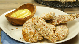 Baked Oat-Crusted Chicken Fingers with Sweet Mustard Sauce