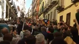 Protesters Sing and Raise Their Fists in Support of Catalan Independence Referendum