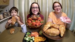 Strawberries Dipped In Chocolate And Croissant Sandwich / Gay Family Mukbang - Eating Show