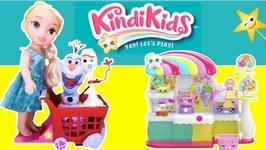 Elsa, Olaf  Forky Go Pretend Toy Food Shopping  KINDI KIDS SUPERMARKET