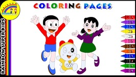Doraemon Coloring Page For Kids - Color Dora And His Friends - Learn Colors With Doraemon
