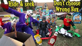 HIDE and SEEK DON'T CHOOSE the WRONG BOX  SUPERHEROES  DEION'S PLAYTIME