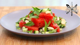 Salted Watermelon Salad With Mint - Almond - Cucumber And Chilli