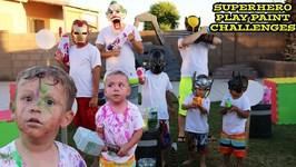 SUPERHERO PAINTBALLS CHALLENGE - PLAY PAINT - GOBLIES