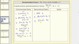 Solve An Equation Using Deconstruct Story II (Four Step)