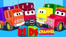 Scary Garbage Trucks - Nursery Rhymes For Kids - Five Little Garbage Trucks