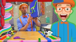 Learn Colors with Blippi and Mayka Toy Block Tape - Videos for Kids