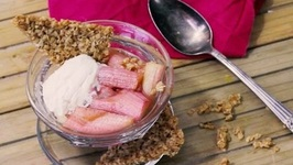 Homemade Oatmeal Bar With Roasted Rhubarb