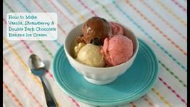 How To Make Vanilla / Strawberry And Double Chocolate Nice Cream - Banana Ice Cream