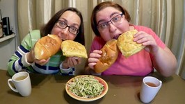 Asian Coconut Buns, BBQ Pork Buns And Cucumber Radish Salad / Gay Family Mukbang - Eating Show