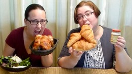 Costco Grilled Chicken Croissant Sandwich -Gay Family Mukbang - Eating Show