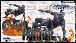 Diamond Select Toys Black Panther Burning Car Marvel Gallery Collection Statue Unboxing