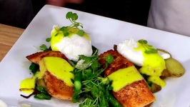 Chef Michael Adams- Poached Eggs With Seared Salmon, Arugula And Saffron Aioli