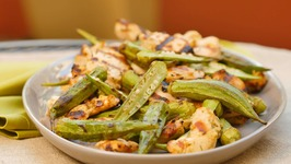 Grilled Lemon-Garlic Chicken with Grilled Okra