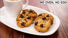 Choco Chip Cookies In Cooker - Eggless Chocolate Biscuits Without Oven