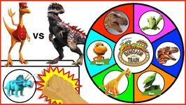 Dinosaur Train Vs Jurassic World Slime Wheel Game - Surprise Dinosaurs And Dino Train Toys Kids