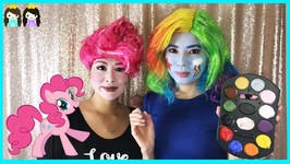 My Little Pony Pinkie Pie Halloween Makeup Tutorial with Princess ToysReview