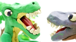 Dinosaurs Play-Doh Stop Motion - T-Rex Falls In Love? Dinosaur Animation   Surprise Eggs