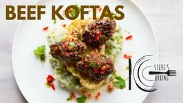 Beef Koftas With Minty Pea Mash - Cauliflower And Parsley Garlic Gremolata