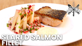 Seared Salmon Fillet With Apple Salad And Mustard Mayonnaise